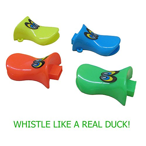 Duck Bill Whistles Set of 18 - Assorted Duck Shaped Whistles Party Favor Play Set of 18 for Birthdays, Camping, Barbecues, Graduations, Beach and (Halloween Theme Party Music)