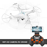 Boyiya FPV RC Drone with HD Wifi Camera 2.4Ghz 6-Axis Gyro Quadcopter with Altitude Hold, Gravity Sensor and Headless Mode RTF Helicopter