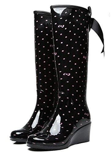 Antislip Kniehoge Rubberen Damesschoenen Regenlaarzen Voor Dames Black-2