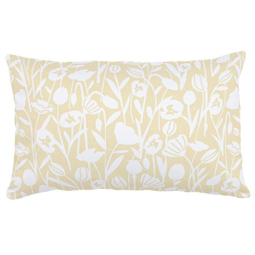Carousel Designs Pale Yellow Poppies Lumbar Pillow - Organic 100% Cotton Lumbar Pillow Cover + Insert - Made in the USA