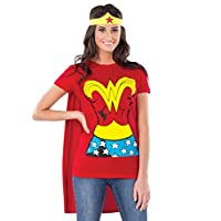 Camiseta de Rubie's DC Comics Wonder Woman con capa y diadema, rojo, traje pequeño