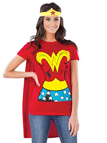 DC Comics Wonder Woman T-Shirt with Cape and Headband, Red, Large -