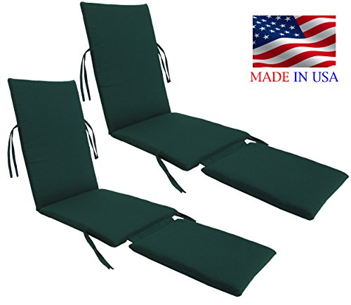 Made in USA Outdoor Sunbrella Canvas Forest Green #5446 Steamer Chair Replacement Cushion Pad (2-PACK) (Replacement Chair Cushions Steamer)