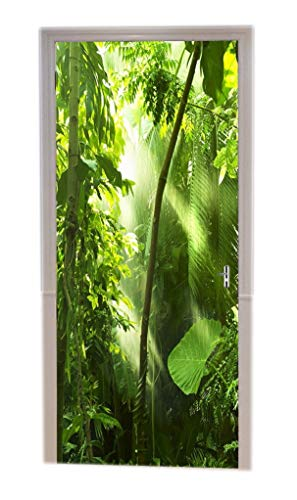 A.Monamour Bright Sunshine Through Green Rainforest Jungle Tropical Palm Tree Nature Scenery Print Vinyl Room Door Decals Wallpaper Wall Murals Removable Door Stickers Posters DIY Art Decors for Home ()