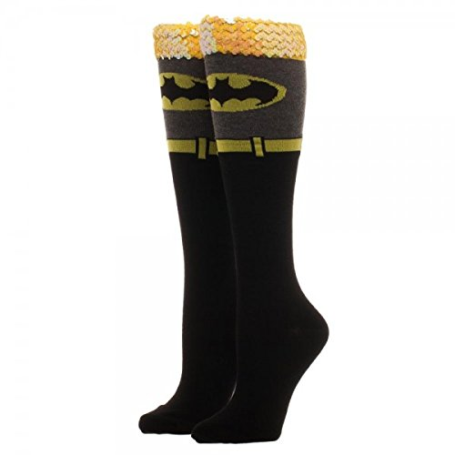 DC COMICS BATMAN Sequin Cuff Knee High Socks (Batman Thigh High Socks)
