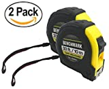 2 Pack - 33 foot Tape Measures - Each Measuring Tape has Autowind and Locking Feature and is Easy to Read. Both Inches and Centimeters - Economy Multi Bulk Pack