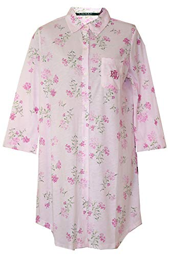 - Ralph Lauren Soft Pink Floral Sleepshirt Nightgown (Pale Pink with Pink Floral Green Stems and Leaves, Medium)