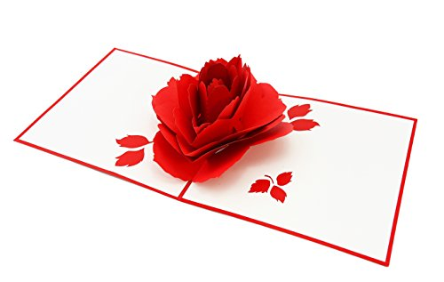 Peony Flat Card (PopLife Blooming Red Rose 3D Pop Up Greeting Card for All Occasions - Date Night, Flower Vase, Wedding Gift - Folds Flat for Mailing - Mother's Day, Birthday, Engagement, Valentine's Day, Anniversary)