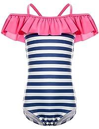 0f44cb06c2746 Kids Ruffles Off Shoulder Stripe One Piece Bathing Suit for Girls
