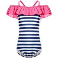 LEINASEN Kids Ruffles Off Shoulder Stripe One Piece Bathing Suit for Girls