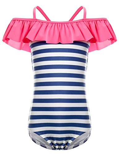 LEINASEN Kids Ruffles Off Shoulder Stripe One Piece Bathing Suit for Girls by LEINASEN