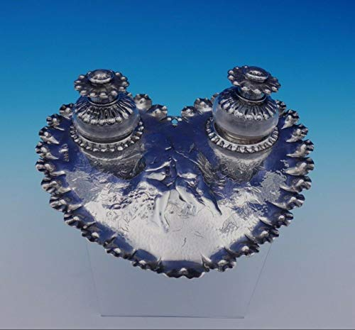 Heart Shaped Cherub - English Sterling Silver Inkwell Set with Heart Shaped Tray 3pc Cherubs (#3195)