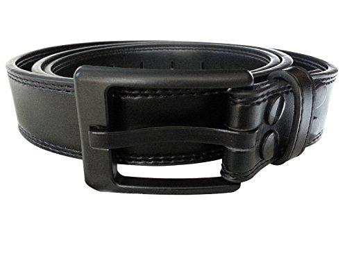 Black Leather Metal (Ferrer Men's Leather Metal-Free Belt: Black: 36