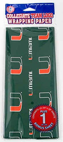 Pro Specialties Group Miami Hurricanes NCAA Green Logos 3 Sheets Gift Wrapping Paper (30