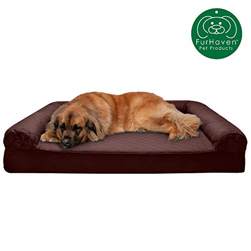 Furhaven Pet Dog Bed | Memory Foam Quilted Traditional Sofa-Style Living Room Couch Pet Bed w/ Removable Cover for Dogs & Cats, Coffee, Jumbo Plus