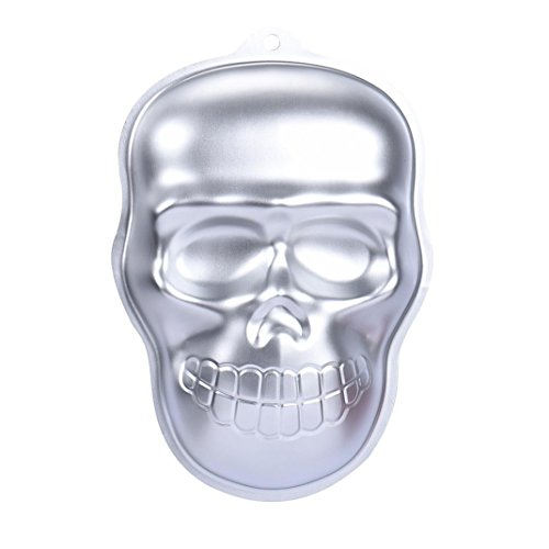 Goodtrade8 GOTD Baking Mould Cake Bread Chocolate Jelly Candy Mold, Metal Skull Cake Cookie Jelly Halloween Baking Mold Mould Kitchen Craft (Aluminum)