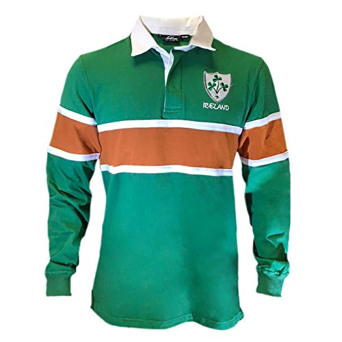 Celtic Clothing Company Irish ST.Patrick's Day Rugby Shirt - Green Orange, XL -