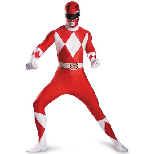 (Disguise Sabans Mighty Morphin Power Rangers Red Ranger Bodysuit Adult Costume, Red/White,)