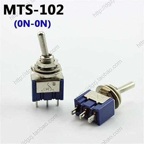 MTS102 ONON 100pcs CHS 3 Pin   6 Pin MTS102 MTS103 MTS202 MTS203 Toggle Switch 6A 125VAC  (color  MTS102 ONON)