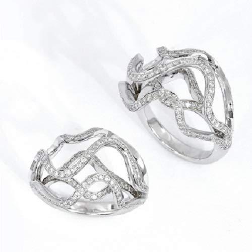 (18k white gold Diamond helter-skelter Ring)