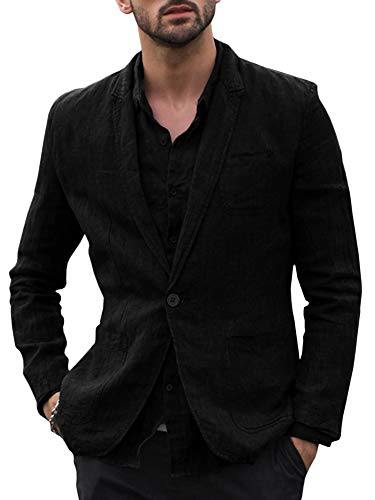 Taoliyuan Mens Linen Blazer Jacket Half Lined Casual Slim Fit Lightweight Solid Two Buttons Sport Suit Coat (Large, B-Black)