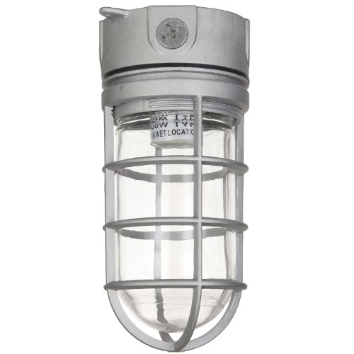 Sunlite 04900-SU Vaporproof Industrial Fixture, Ceiling Mount, Medium Base Socket (E26), 100W Max, 120 Volt, Outdoor, UL Listed, Clear Glass Jar, 5.5-Inch, Metallic Finish (Walking Freezer And Coolers)