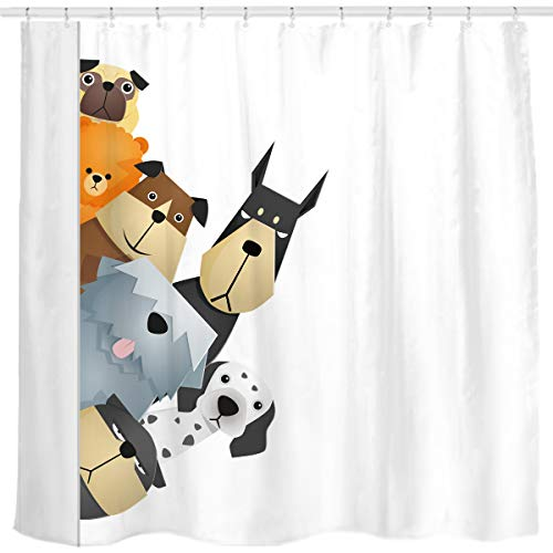 - Sunlit Peekaboo Cute Dogs Curious Cartoon Puppy Fabric Shower Curtain for Kids Dogs Lovers, Tawny with Dalmatian Bulldog Pug Poodle Beagle, White