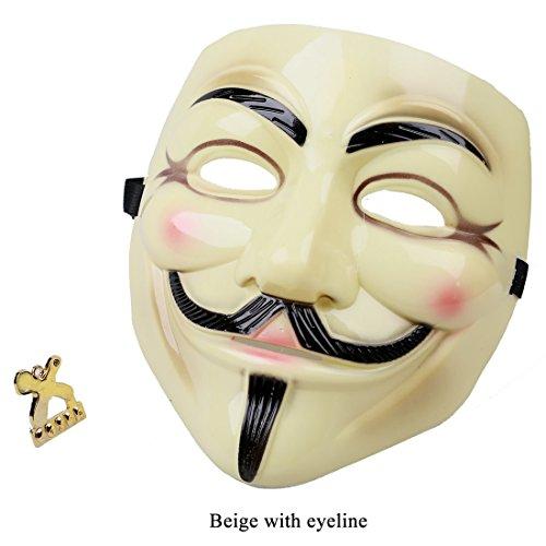 Jason V Costume (V For Vendetta Mask Fawkes Face Mask V2 Plastic Version Bronze)