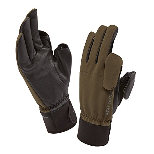 (SEALSKINZ Unisex Waterproof All Weather Sporting Glove, Olive Green/Black, Large)