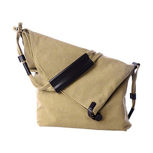 VRIKOO Men's Canvas Cross-Body Shoulder Bags Vintage Hobo Messenger Bag Unisex School Satchel Khaki