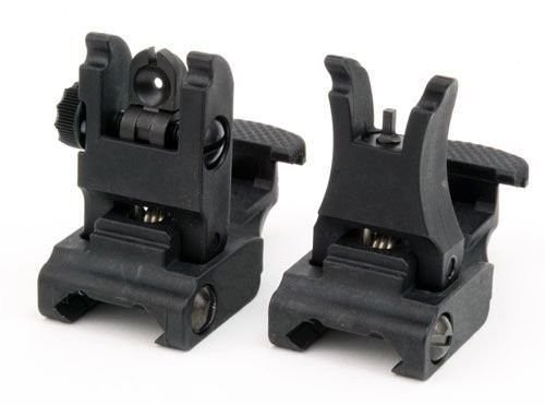 [Front and Rear Sight for AR-15 M16 Flat Top Rifles Low Profile Flip-Up Sight Set] (Rear Allow Accessories)