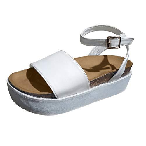 Tantisy ♣↭♣ Women's Fashion Platform Shoes/Buckle Strap/Elegant Ladies Sandals/Waterproof Platform 4.5cm/1.77'' White