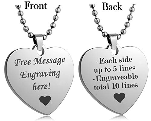 Interway Trading Personalized Small Size Custom Message Engraved Stainless Steel Necklace Dog Tag Pendant with 24 inch Chain,Velvet Giftpouch and Keyring (Heart Silver) - Engraved Heart Tag