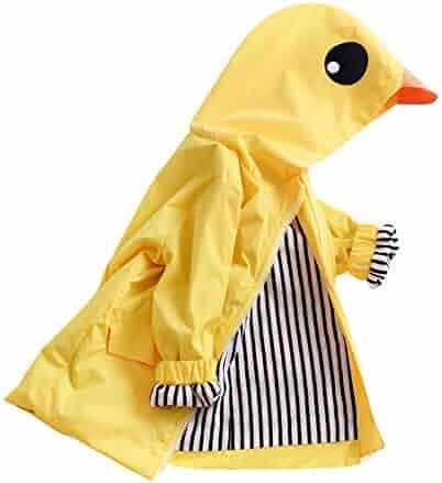 b1f7f5426eaaa Toddler Duck Raincoat Baby Cute Cartoon Jacket Hooded Zipper Coat Waterproof  Outwear Windbreaker