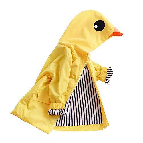 (Toddler Duck Raincoat Baby Cute Cartoon Jacket Hooded Zipper Coat Waterproof Outwear Windbreaker (Quacker, 24M))