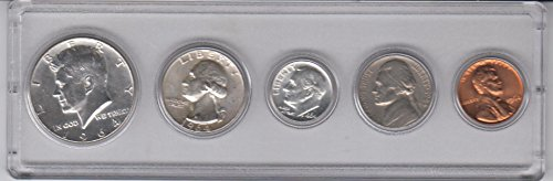 1964 Birth Year Coin Set (5) Coins Half Dollar, Quarter, Dime, Nickel, and Cent all dated 1964 and Encased in a Plastic Display Holder Choice Uncirculated