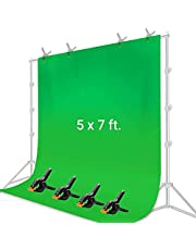 LS Photography 5 x 7 pies Pantalla Verde Chromakey Muselina Telón de fondo Fotografía Sesión de fotos, Fondo de tela reutilizable de larga duración para transmisión de video fotográfico, LGG848