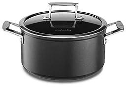 KitchenAid KCH260LCKM Professional Hard Anodized Nonstick 6.0-Quart Low Casserole with Lid Cookware - Black