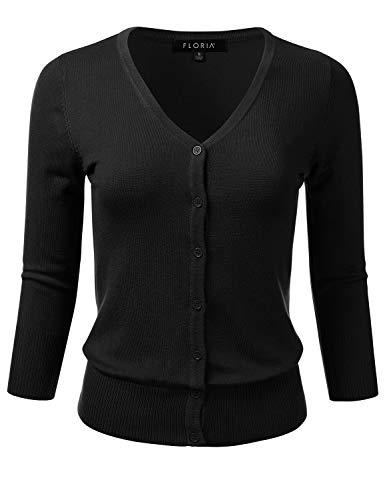 FLORIA Women's Button Down 3/4 Sleeve V-Neck Stretch Knit Cardigan Sweater Black L (Cardigan 3/4 Sleeve V-neck)
