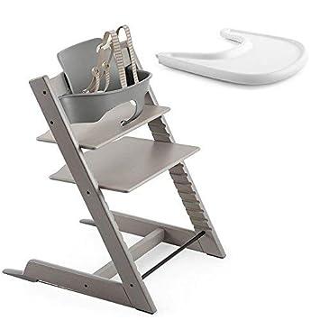 Amazon.com: Stokke Tripp Trapp roble silla, gris, lavar con ...