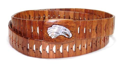 Wooden Belt with EAGLE Head Beak Open Picture Design Solid Wooden Buckle