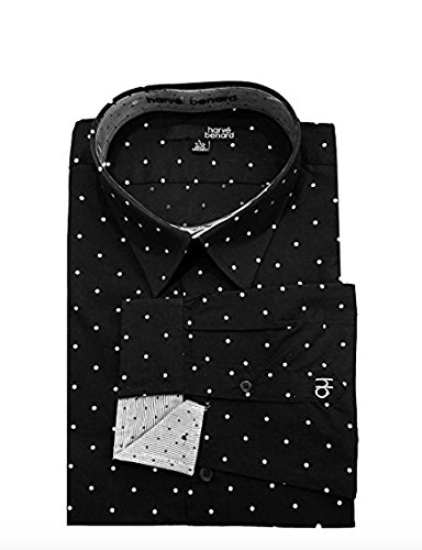 Harve Bernard Clothing (Harve Benard Men's Pattern Button Down Shirt, XL 34/35, Black/White)