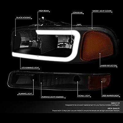 DNA MOTORING HL-LB2-SIERRA99-BK-SM-AM LED DRL Front Driving Headlight+Turn Signal Bumper Lamps Upgrade: Automotive