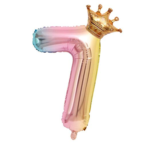 Fan-Ling Crown Number Foil Balloons Number Ballon Happy Birthday Party Decoration 32 -