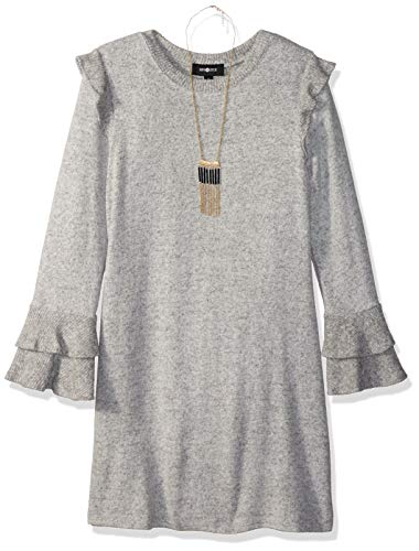 Amy Byer Girls' Big Bell Sleeve Fuzzy Knit A-Line Dress, Heather Grey, L