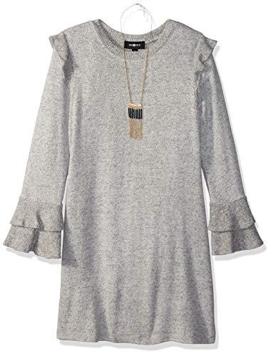 Amy Byer Girls' Big Bell Sleeve Fuzzy Knit A-Line Dress, Heather Grey, L -