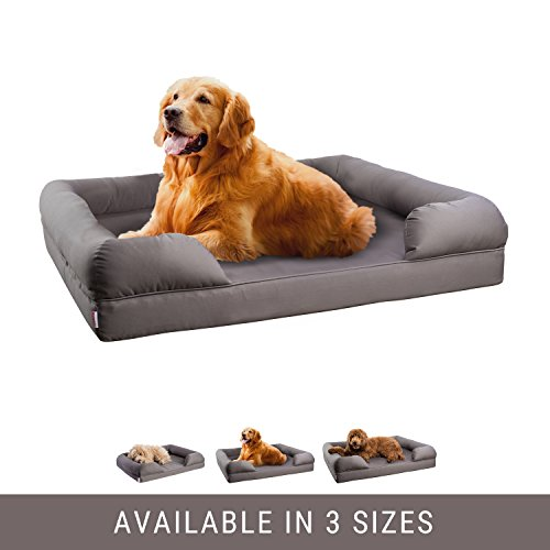 Petlo Orthopedic Pet Sofa Bed - Dog, Cat or Puppy Memory Foam Mattress Comfortable Couch For Pets With Removable Washable Cover (Large - 36'' x 28'' x 9'', Grey) by Petlo