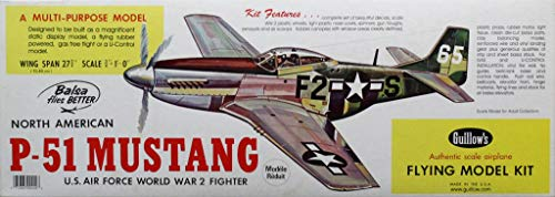 Guillow 1:16 3/4 North American P-51 Mustang WWII Fighter Multimedia Kit #402 ()