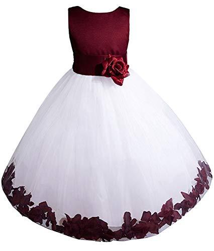 AMJ Dresses Inc Big-Girls' Burgundy Flower Girl Dress E1008 Sz 12