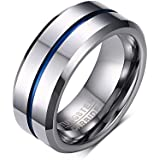 Weidan Jewels8MMTungsten steel mosaic Blue stripes simplicity Rings Mens vogue Wedding ring 039